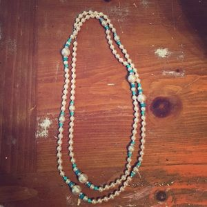 "22"" Pearl and Turquoise Necklace"